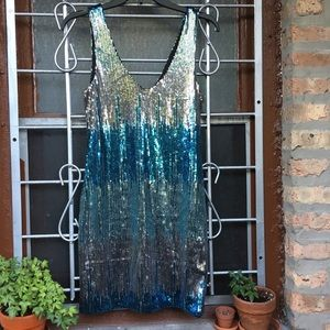 NWT Lily Rose sequin ombré silver blue mini dress